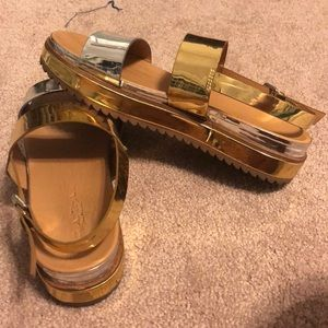 Gold/Silver metallic sandals